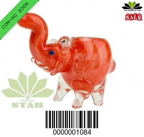 Red white Zebra Strips  mini Elephant hand blown hand pipe-VJ-1084