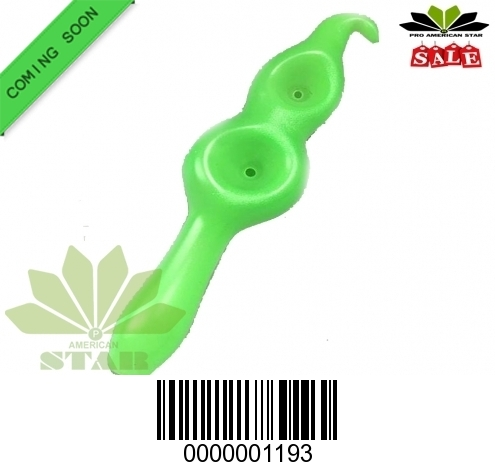 Green Double Bowl Glass hand pipe for Oil, Tobacco-JK-1192