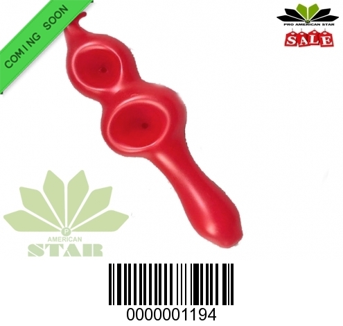 Red Double Bowl Glass hand pipe for Oil, Tobacco-JK-1192