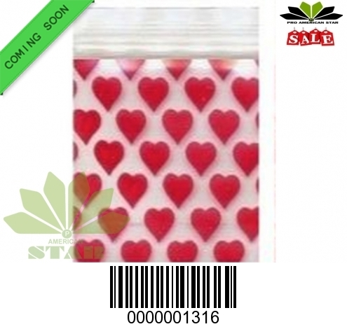 1000 CT-Red Heart  printed  Mini reused Ziplock baggy-CT-1316