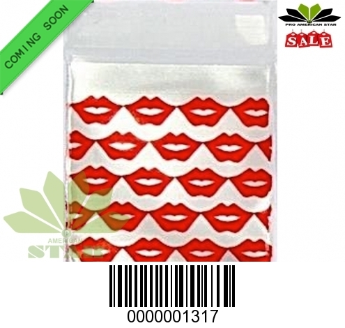 1000 Ct-Red Lips printed Mini reused Ziplock baggy-CT-1317