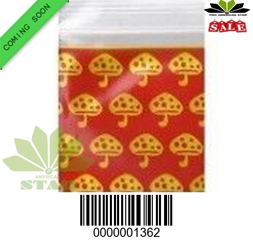 1000 CT-Yellow  Mushroom  printed Mini reused Ziplock baggy-CT-1362