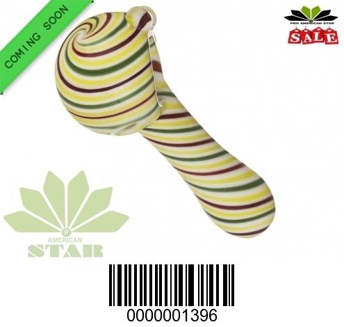 4 inches Yellow Green Red, White   Swirl  hand pipe-VJ-1396