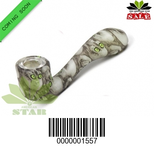 Silicone Sherlock hand-pipe with glass dish-JK-1557