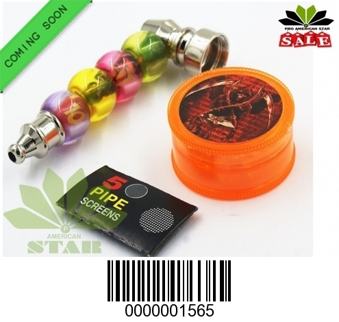 Color Beading outfit metal hand pipe, plastic grinder, pipe screen-CM-1565