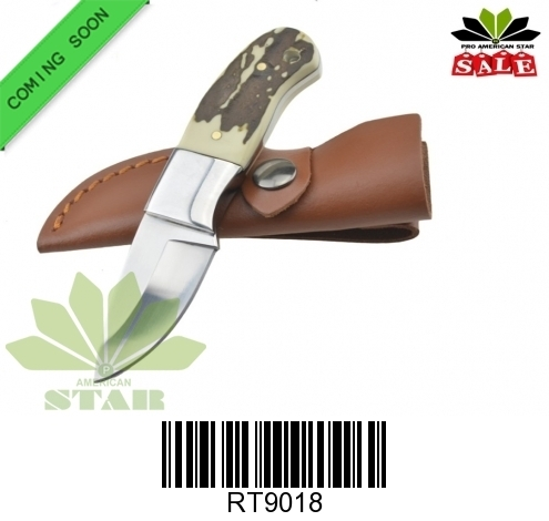 Animal bone handle hunting knife with sheath-J-9018