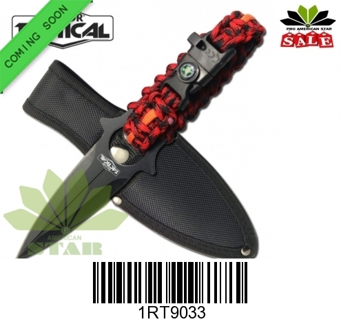Survival Knife with paracord compass and whistle-J-9033