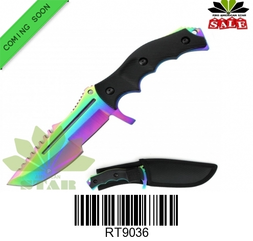 Hunting, survival knife with sheath-J-9036