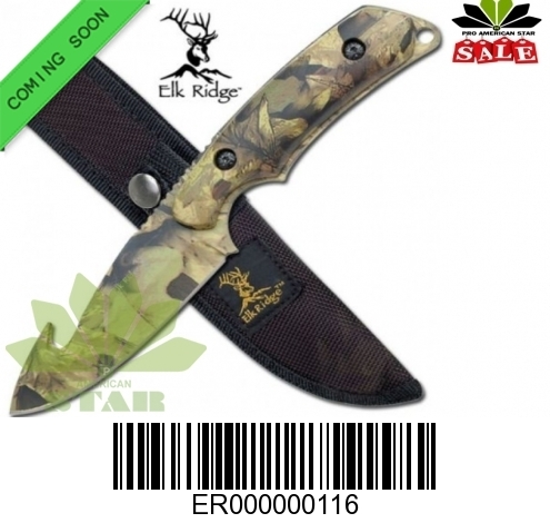 Elk Ridge Jungle Camouflage Gut Hook Skinner hunting knife with Sheath  -J-116