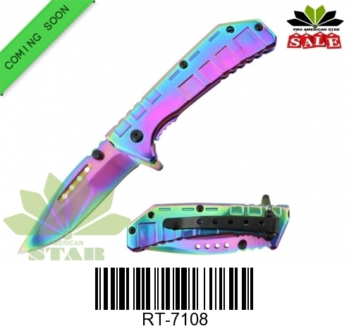 Rainbow Spring Assist Knife-J-7108