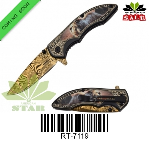 Animal themed Spring Assist glad titanium blade with pattern knife-J-7119