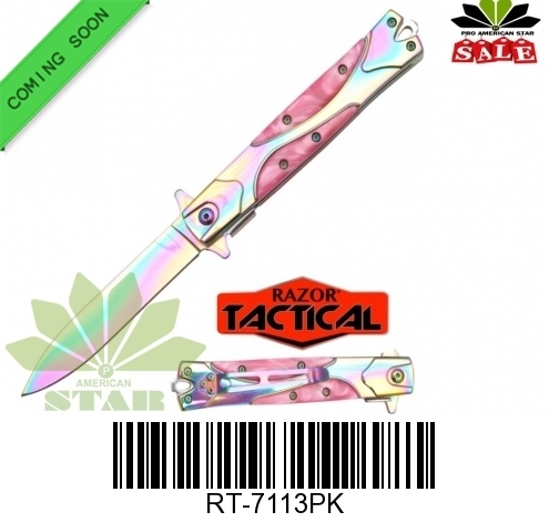 Stilletto Style quick assist knife with Pink handle  handle-JR-RT-7113PK