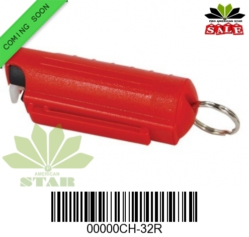 Red Hard Shell pepper Spray with Key Chain made in USA-CH-32PRP