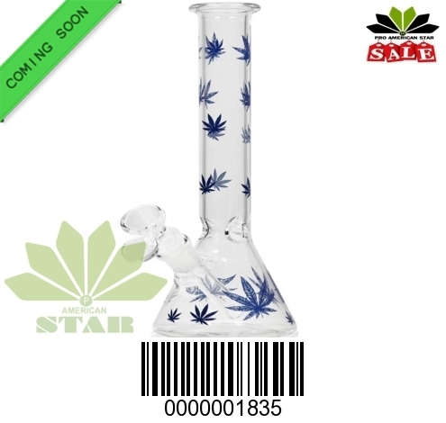 10 Inches Blue leaves Printed Double conical shaped beaker-VJ-1835