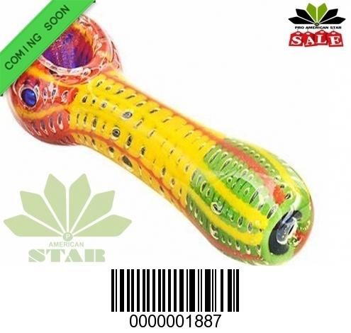 4 Inches  Rasta bubble skin hand pipe-VJ-1887
