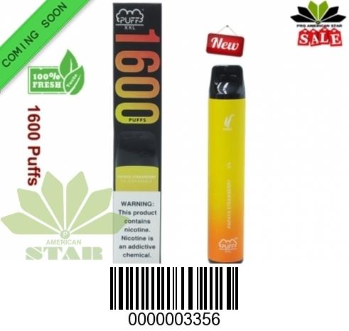 6.5 ML XXL 1600 Papaya Strawberry  Puffs disposable E-Cig- VK-3356