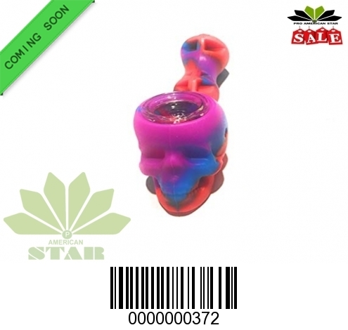 Silicone  skull hand pipe with glass bowl-372-Jm