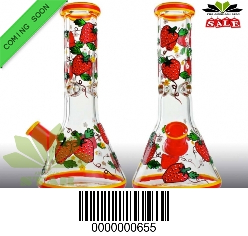 Flame print Strawberry with leaves Red , Yellow color-JK-655