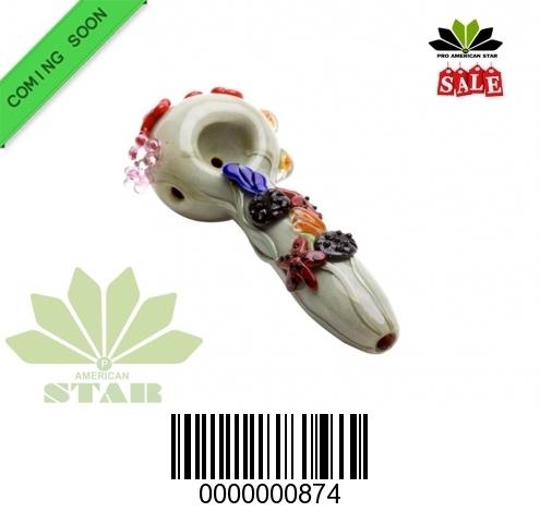 Granite pattern mix fruit on handBlown Hand Pipe-VJ-874