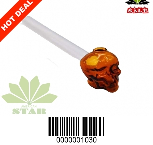 6 inches 2mm thick Skull face straight Amber oil burner-JK-1030