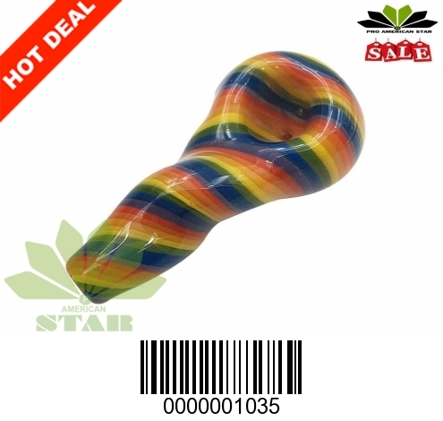 Four Inches spiral  twisted multicolor hand pipe -VJ 1035