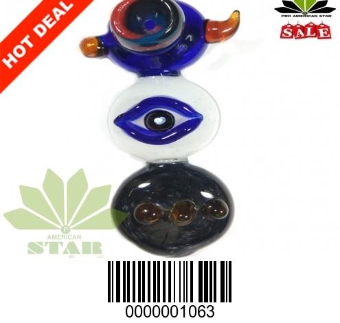 Big Eyes Beetle with single Horn handblown hand pipe -VJ-1063