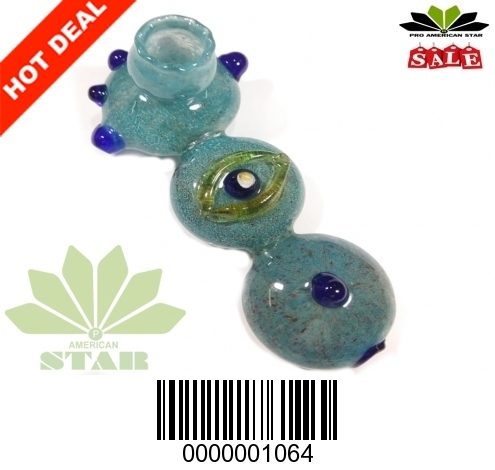 Green Big Eye Beetle with Marble handblown hand pipe-Vj-1063