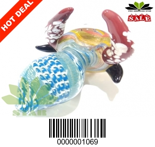 Big Horn Unique animal face  hand blown hand pipe-VJ-1069