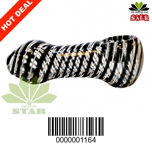4 inches Black White Swirl  hand pipe-VJ-1164