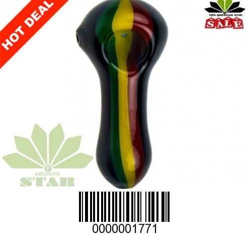 3.5 inches Black Rasta Hand pipe-VJ-1771