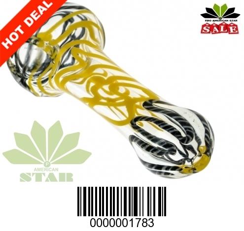 Yellow black cane design hand pipe-VJ-1783