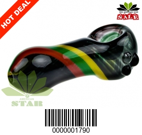 Heat resistant black glass with Rasta Stripes decorated hand pipe-VJ-1970