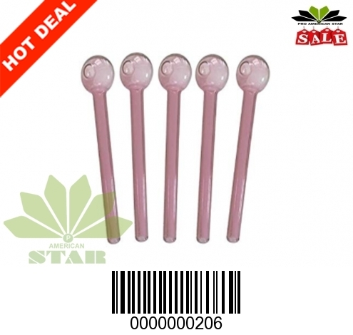 6 inches 2mm thick straight Pink oil burner-JK-206