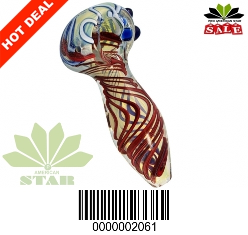 Multicolor Twisted Smoking Glass Pipe with dots and bubbles-VJ-2061