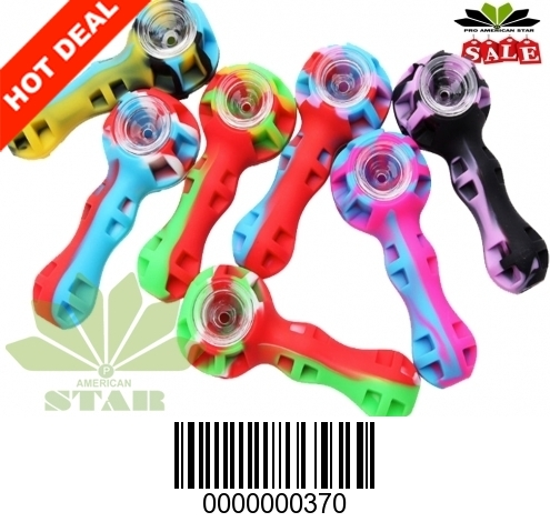 Silicone hand pipe with glass bowl-JK-370