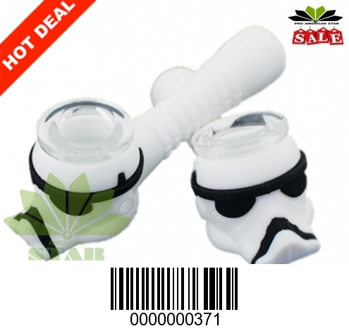 Star War theme Silicone hand pipe with glass bowl-371-Jm