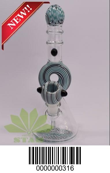 Blue/Black Recycler Glass bong donut design-BL-316