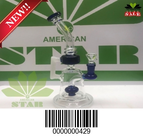 Blue Mini Inches bent neck Stem line Dab rig-BL-429