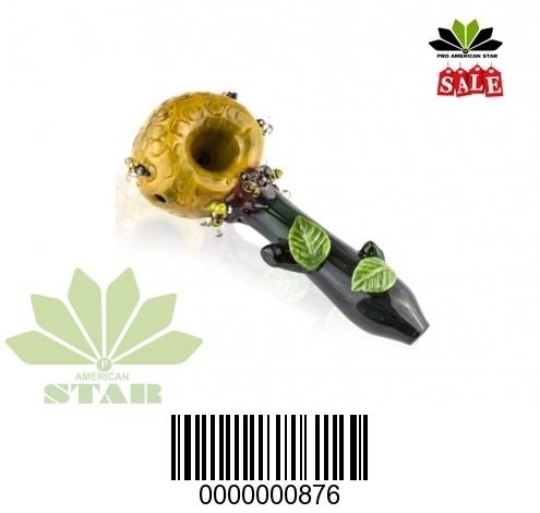 Four Inches Yellow Marble Bowl leaf on handBlown Hand Pip-VJ-876
